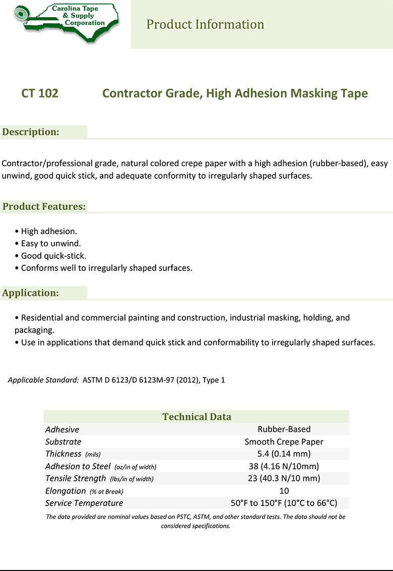 102 Contractor Grade High Adhesion Masking Tape 1