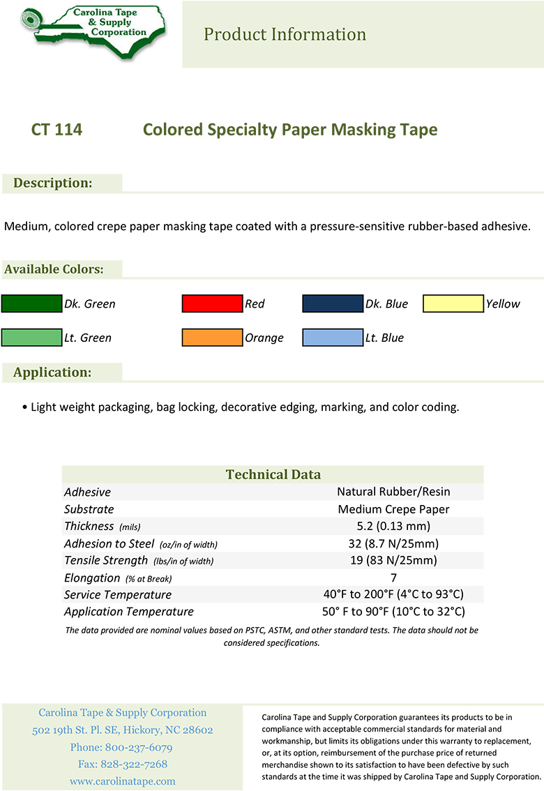 114 Colored Specialty Paper Masking Tape