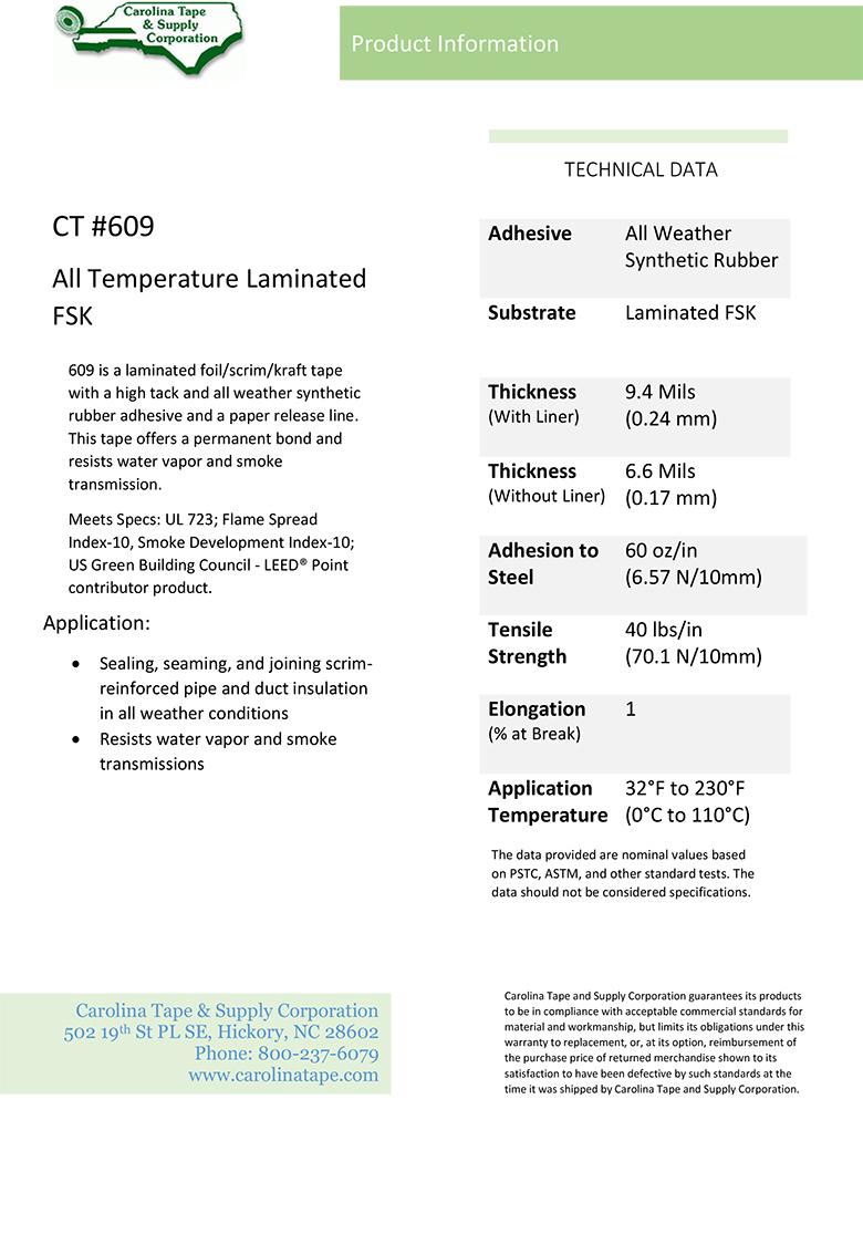 Duct & Insulation Series All Weather Paper Release Liner Laminated Foil, Scrim, Kraft Tape_AF 982_609