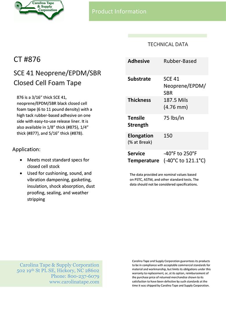 Single Coated Film Series Sce Neoprene Epdm Sbr Closed Cell Foam Tape Pres On 8200 876