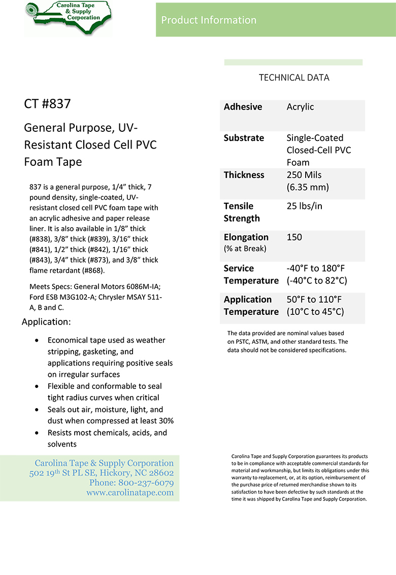Single Coated Film Series Thick Density Uv Resistant Closed Cell Pvc Foam Tape Gaska V710 837