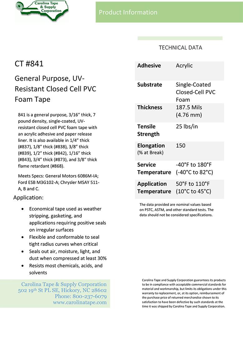 Single Coated Film Series Thick Density Uv Resistant Closed Cell Pvc Foam Tape Gaska V710 841